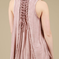 Lace Up Back Smocked Baby Doll Top - Pink