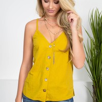 Vintage Gold Button-Up Top