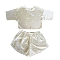 Ivory Satin Crop & Shorts Twin Set
