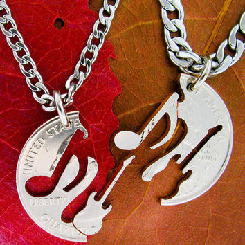 Electric Guitar and Music Note Relationship set, interlocking hand cut coin