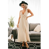 Just Another Slow Dance Backless Maxi Dress (Natural)