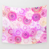 Mandala Flowers in a Colorful Pattern Wall Tapestry by Octavia Soldani