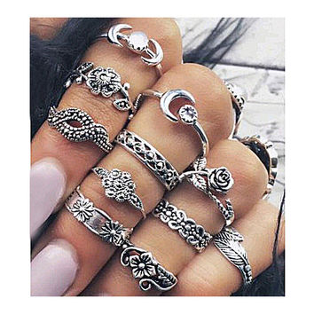 New Fashion Women's Boho Chic Moon Flowers Midi Rings Set