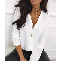 Women Casual Button V Neck Tops And Blouse