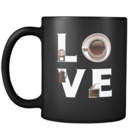 Coffee - LOVE Coffee  - 11oz Black Mug