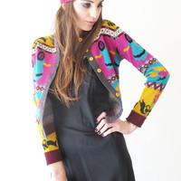 shopCMV adorable ALLEY CAT by Betsey Johnson 1970s vintage rainbow knit wool cardigan sweater