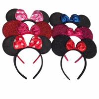 1pcs Hair Accessories Mickey Minnie Mouse Ears Solid Black & Colorful Bows Headband for Boys Girls Birthday Party Celebrations C