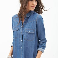 FOREVER 21 Western-Inspired Chambray Shirt Denim Washed
