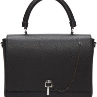 Black Leather Clasp Bag