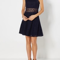 Navy Illusion Waist Crochet Skater Dress | Skater Dresses | rue21