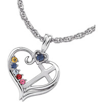 """Walmart: Personalized Mother's Sterling Silver Birthstone Heart Cross Necklace, 20"""""""