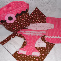 Pink and Brown Doll Diaper Bag Set, Ready to Ship - Includes Bag, Diapers, Changing Pad, Burp Cloth, Wipes Case and Wipes, Child's Toy