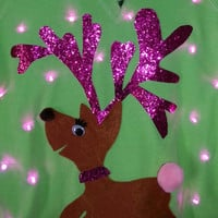 Clarice Light Up Ugly Christmas Sweater with Pink LED Lights!!!