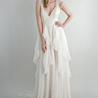 Emmy Lou --  lace and silk chiffon wedding gown