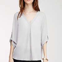 Tab-Sleeved Chiffon Blouse