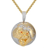 Mens World Globe Icy Gorilla Face Hip Hop Gold Tone Pendant