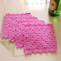 4 Pink Coasters, Crocheted Coasters, Yarn Coasters, Wool Coasters, Table Setting, Dinner Coaster, Tea Time Coaster, Tiny Green Mat