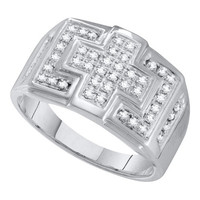 Diamond Micro Pave Mens Ring in 10k White Gold 0.33 ctw