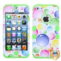 MYBAT IPHONE5HPCTUFFIM003NP Premium TUFF Case for iPhone 5 - 1 Pack - Retail Packaging - Rainbow Bigger Bubbles/Electric Green