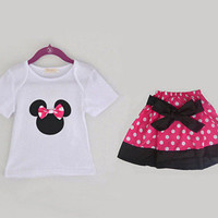 3T and 4T Minnie Mouse Pink Polka Dot Shirt and Skirt outfit!