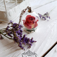 Rose in bottle  terrarium necklace Glass dome Flower,dried flower,Glass bubble,Glass orb moss flower necklace,Dried flower jewelry,Botanic