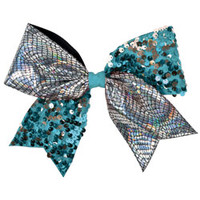 Holographic Crackle Print Ribbon & Dangle Sequin Cheerleading Performance Hair Bow