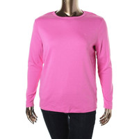 Lauren Ralph Lauren Womens Plus Cotton Crew Pullover Top