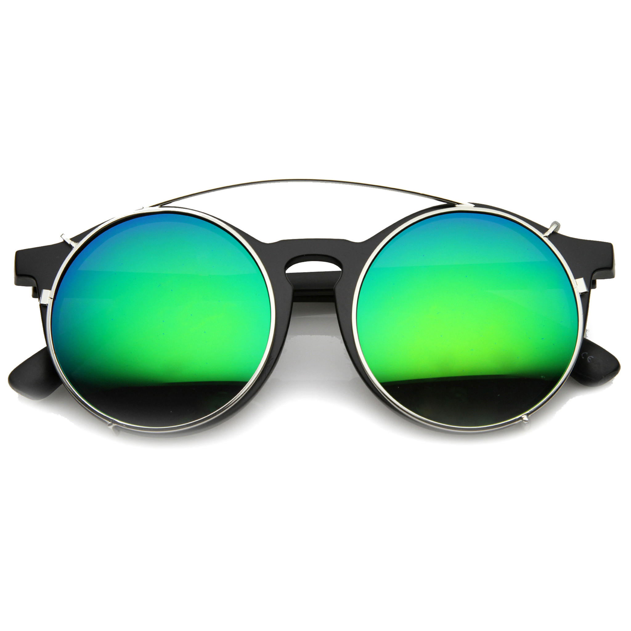 Image of Oversize Round Flash Mirrored Clip On Lens Sunglasses 9793