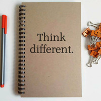 Writing journal, spiral notebook, cute diary, small sketchbook, memory book, 5x8 - Think different, motivational quote, Steve Jobs