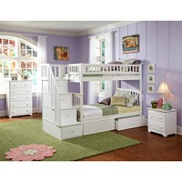 Columbia Staircase Bunk Bed Twin Over Twin 2 Flat Panel Bed Drawers White Finish