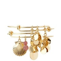 Seashell & Disk Charm Bangles - 2 Pack by Charlotte Russe - Gold