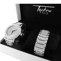 Techno Pave White Gold Tone Mens Lab Diamond Wrist Watch