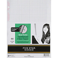 Five Star XL Reinforced Filler Paper 8 12 x 11 Quadrille Ruled Pack Of 100 Sheets by Office Depot