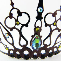 Green Gothique Black Filigree Gothic Tiara by angelyques on Etsy