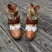 Boho Boots Size 9.5 Upcycled Bohemian Gypsy Hippie Layer Boots