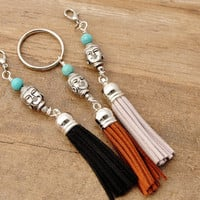 Zen Jewelry, Tassel Key Chain,  Zen Key Chain, Zen Bag Charm,  Tassel Bag Charm,Buddha Purse Charm, Buddha Key Chain, Zipper Charm
