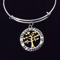 The Love of Family is Forever Silver and Gold Charm Bracelet Tree of Life Adjustable Expandable Silver Plated Bangle Charm Trendy