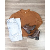 Material Girl Choker Sweater in Camel