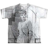LUCILLE BALL/CITY GIRL-S/S YOUTH POLY CREW-WHITE