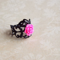 Fuchsia Pink Rose Flower Black Filigree Metallic Ring Floral Adjustable Statement Ring