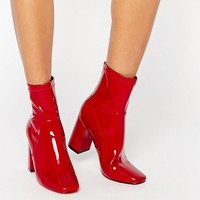 Truffle Collection Harp Sock Heeled Ankle Boots at asos.com