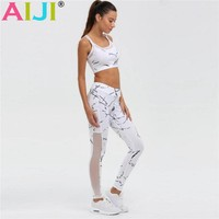 Women 2Pcs Yoga Set Printed Vest Tank Top Leggings Tracksuit Clothing Fitness White Patchwork Gym Sportswear Outfits Sports Suit