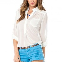 Pure Chiffon Blouse in Ivory- ShopSosie.com