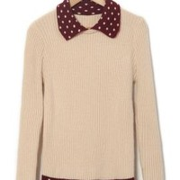 Study Group Contrast Turn Collar Rib Knit Sweater in Beige/Burgundy | Sincerely Sweet Boutique
