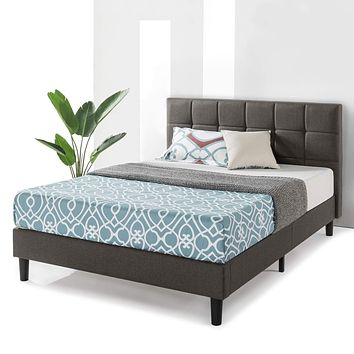 Best Price Mattress Queen Bed Frame Zoe Upholstered Platform Beds with Tufted Headboard and Wooden Slats Support (No Box Spring Needed), Queen