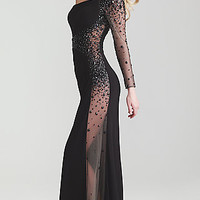 One Shoulder Sheer Black Evening Gown by Night Moves 6746