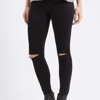 MOTO Black Ripped Leigh Jeans - Topshop