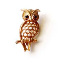 Vintage Avon Owl Brooch - Gold Tone Owl - Broach Pin - Brooch In Box - Red Eye Owl - 1970s Style - Cut Out Owl Pin - Signed Marked
