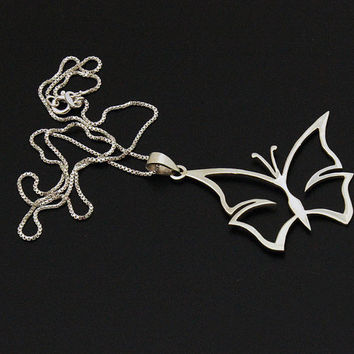 Silver Butterfly Necklace Pendant Sterling silver Butterfly With 925 Silver Box Style Chain Necklace