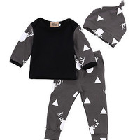 3PCS Newborn Spring Cotton Deer Children Baby Boys Girls Sets Clothes O-Neck Clothing Sets Boy Long sleeve T Shirt+Hat+Pants